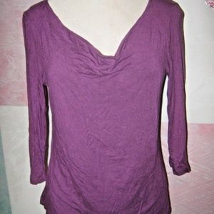 Purple 3/4 Sleeve Cowl Neck Stretch Knit Shirt XL